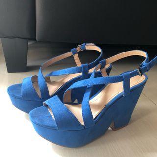 Zara Blue Wedges