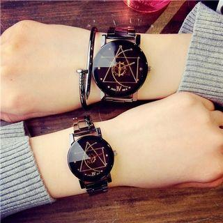 COUPLE Lovers Watch Stainless Steel Quartz Wrist Watch Unisex
