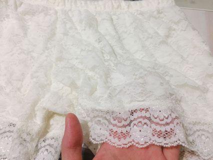 白色蕾絲安全褲