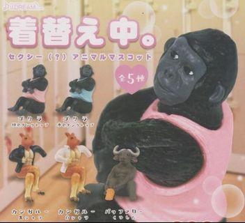 更衣中動物公仔 扭蛋 轉蛋 換衣服動物 著衣中👉2款-猩猩粉衣/袋鼠黑衣