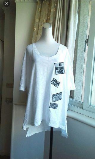 韓製Korea 寬鬆落肩貼布竹節棉T恤