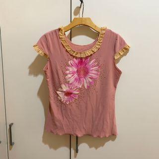 Preloved Pink Summer Blouse / Kaos Lace pink bunga