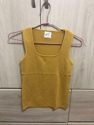 黃色針織背心上衣