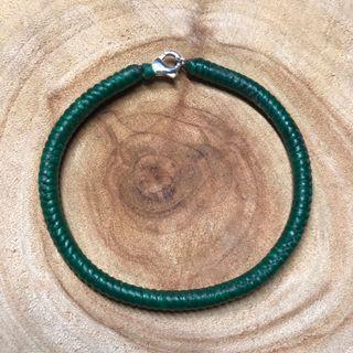 925純銀扣 深綠素款金鋼結蠶絲蠟線手環