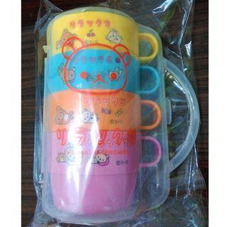 日本 拉拉熊 懶懶熊 景品 塑膠水杯組合 冷水杯 杯子 四入一組
