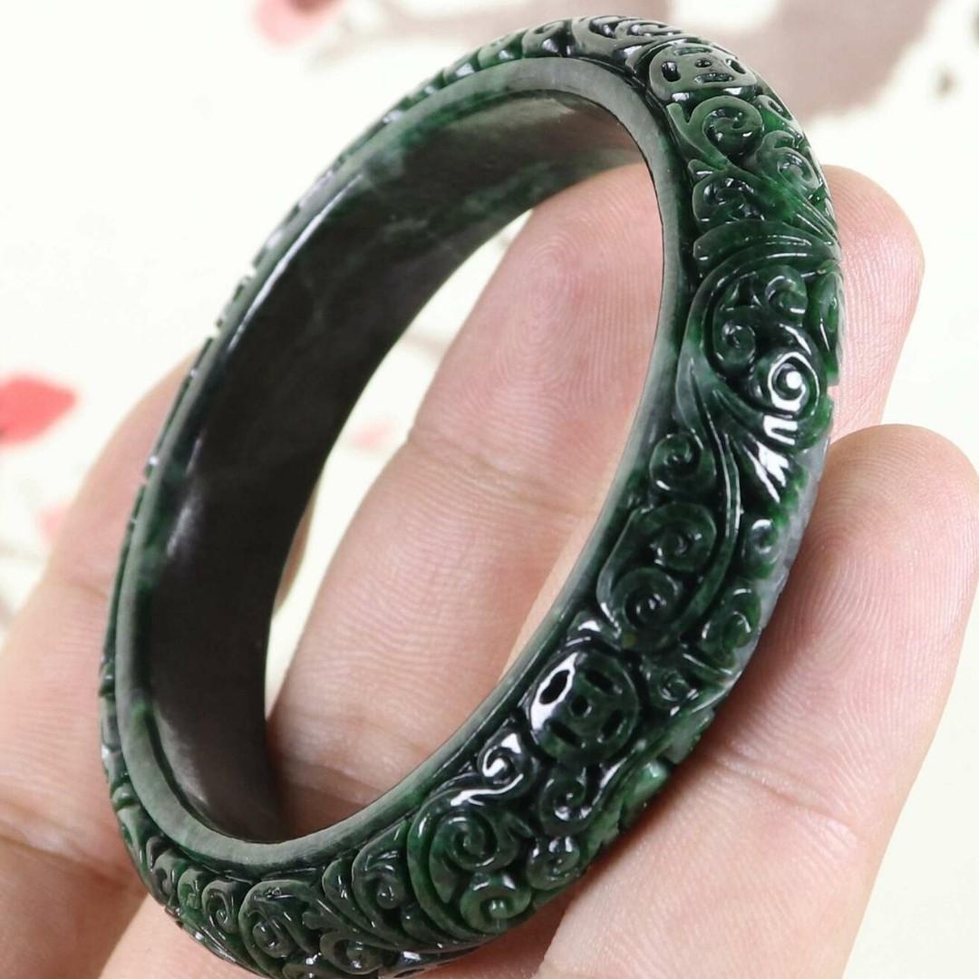 57mm Certified Green Natural A jade Jadeite Moire Bangle Bracelet C3764CQ
