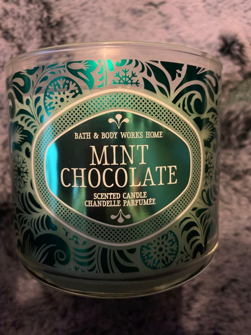Bath and Body Works - 3 Wick Candle - Mint Chocolate