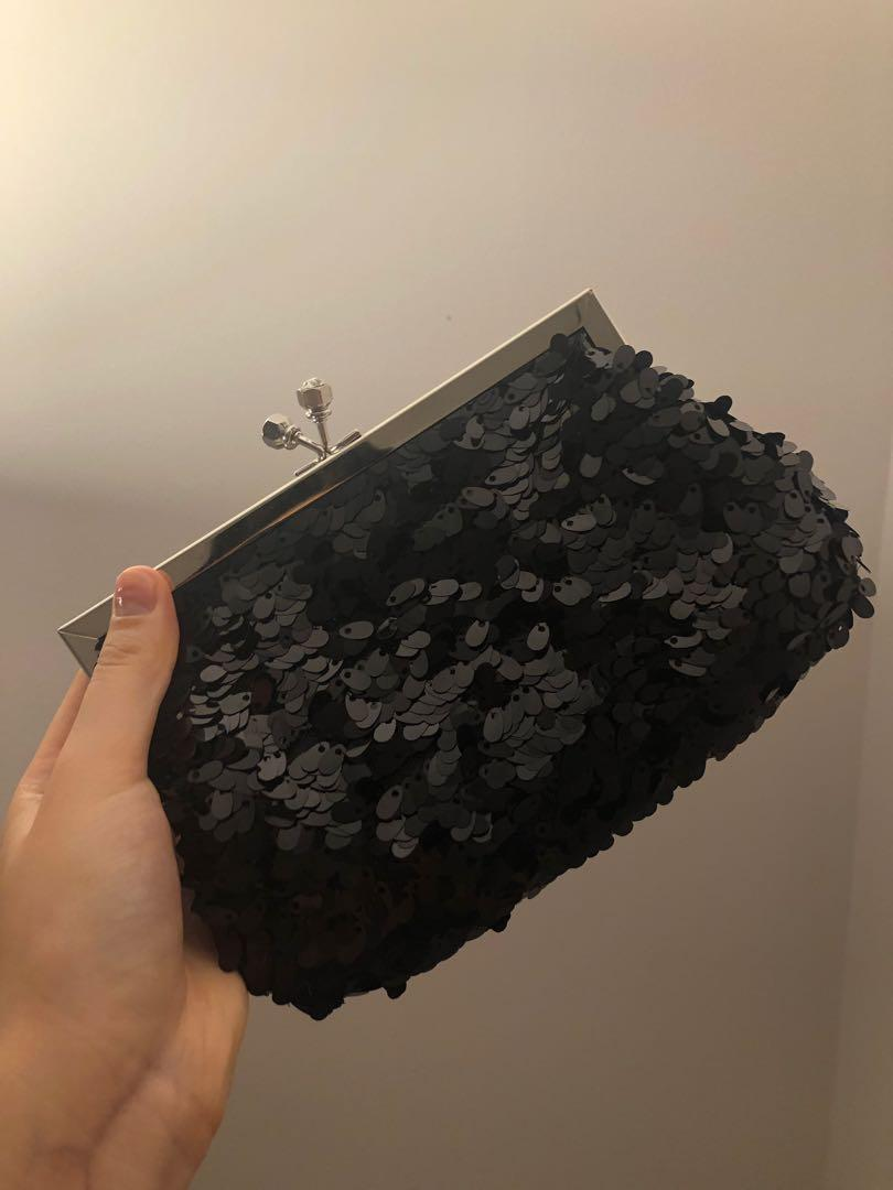 Black Sequin Evening Clutch with Chain