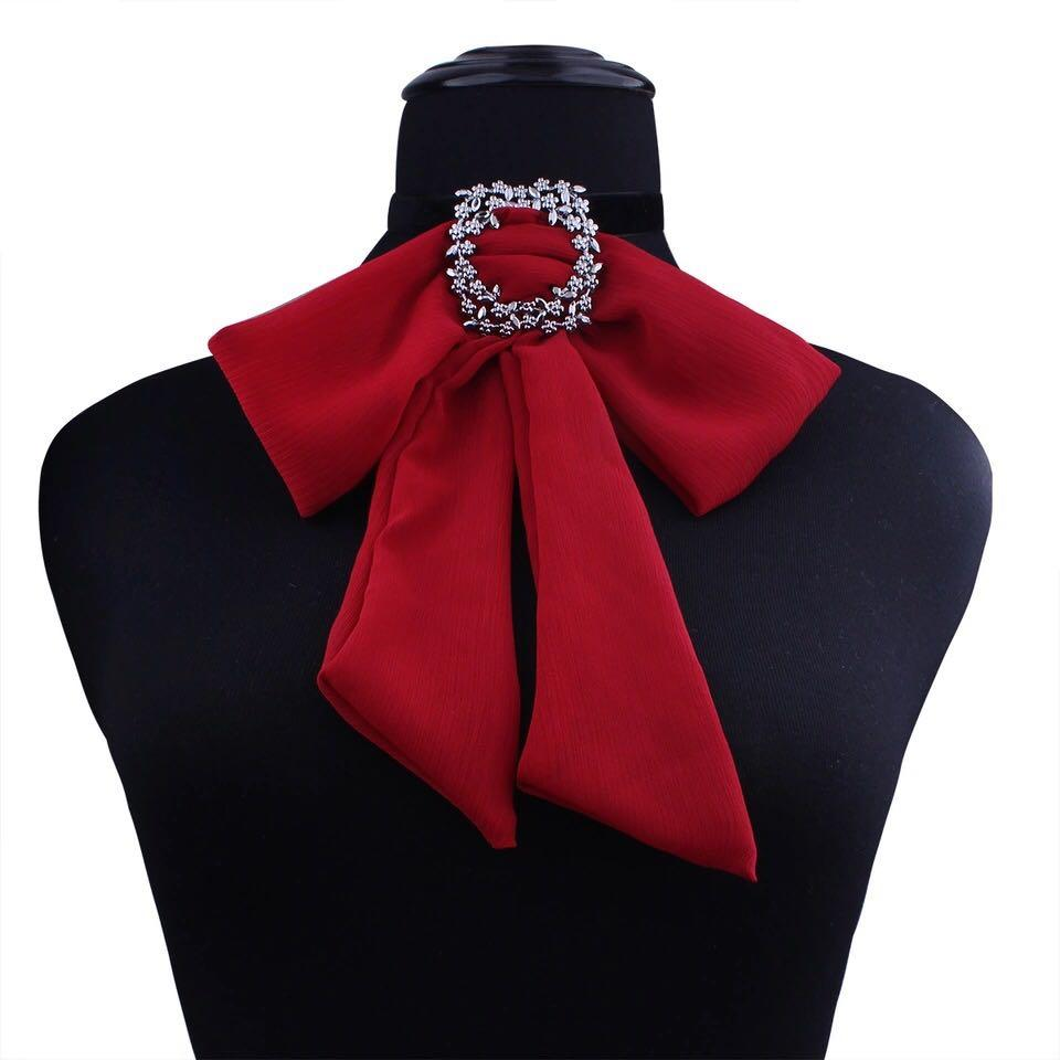 Brand new maroon red ribbon bow tie choker necklace
