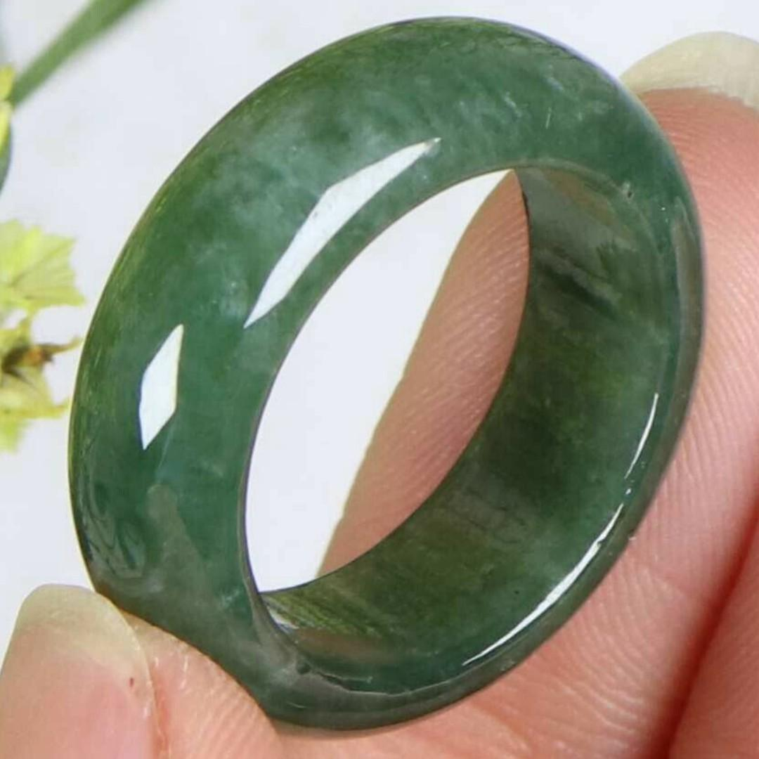Cert'd Dark green 100% Natural A Jade jadeite 17 mm Ring