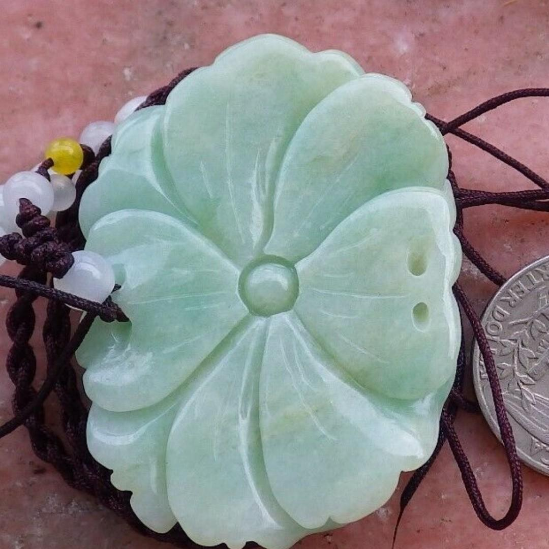 Certified Green Natural A Jade jadeite pendant Orchid Flower Necklace 花开富贵