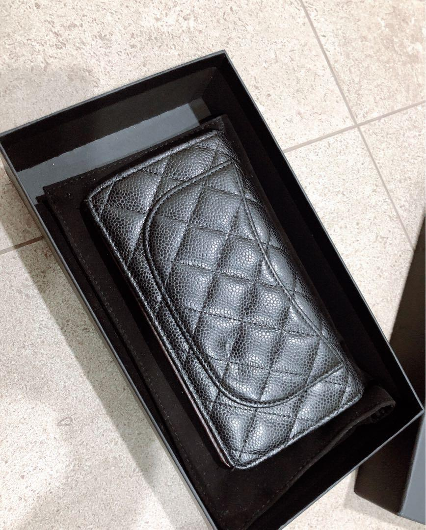 Chanel Black Quilted Caviar Leather Bi-Fold Wallet