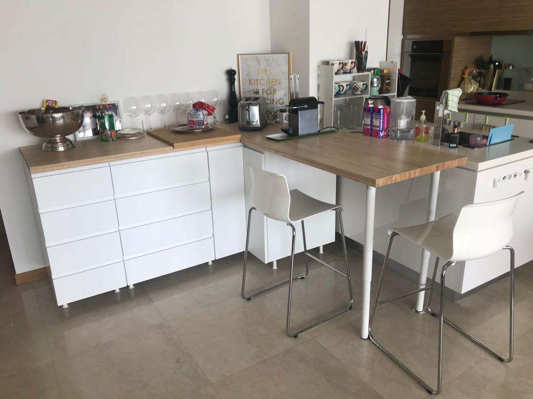Ikea Kitchen Counter With Bar And Bar Stools Furniture Tables Chairs On Carousell