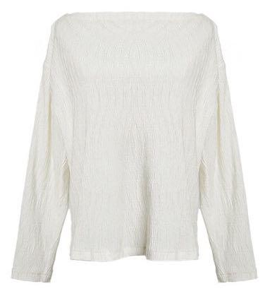 Pearlescent Cream Off the Shoulder Long Sleeve top