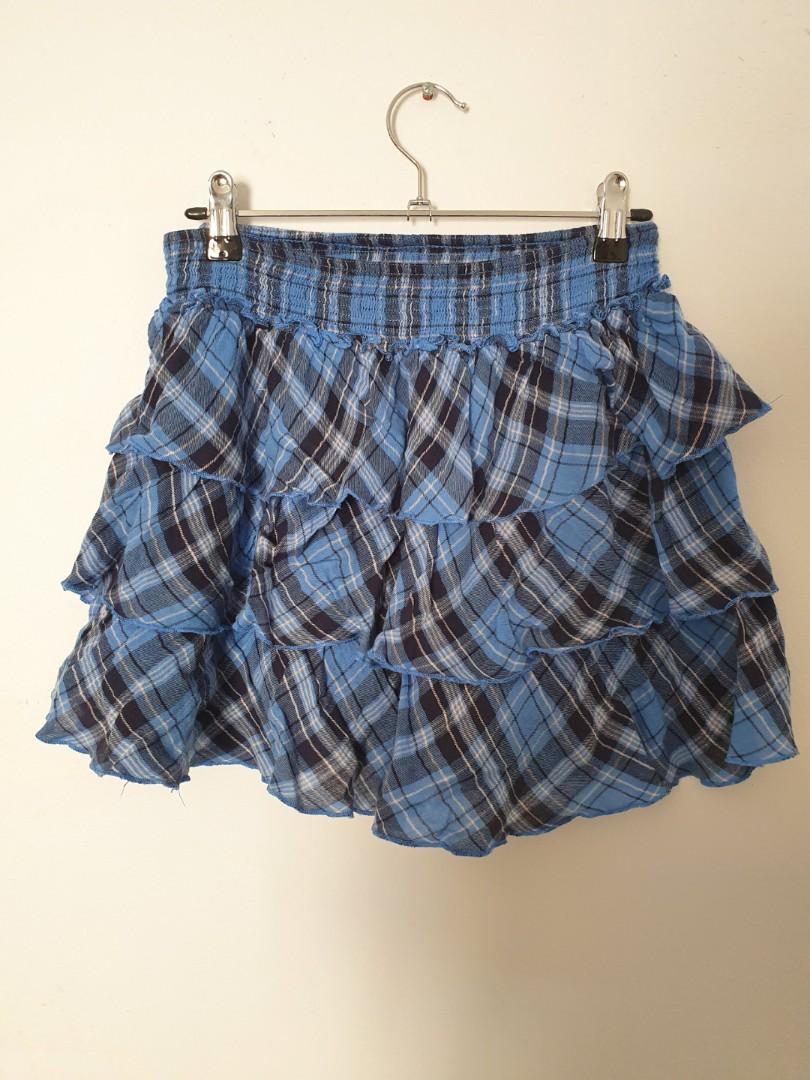 Ruffled blue punk rocker skirt