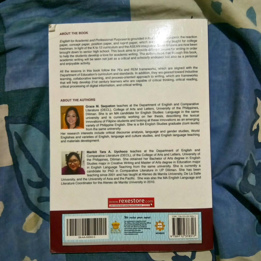 Senior High School Book: ENGLISH FOR ACADEMIC AND PROFESSIONAL PURPOSES, REX Bookstore