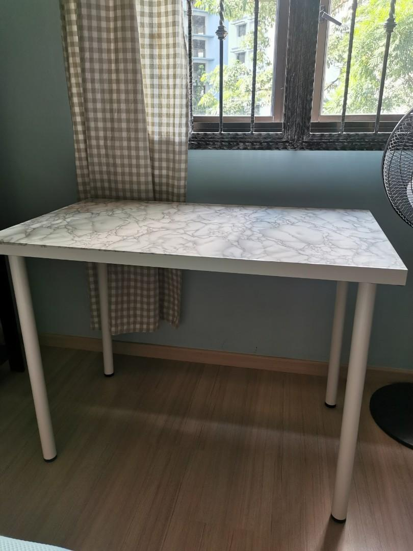 Table With Marble Sticker Furniture Tables Chairs On Carousell