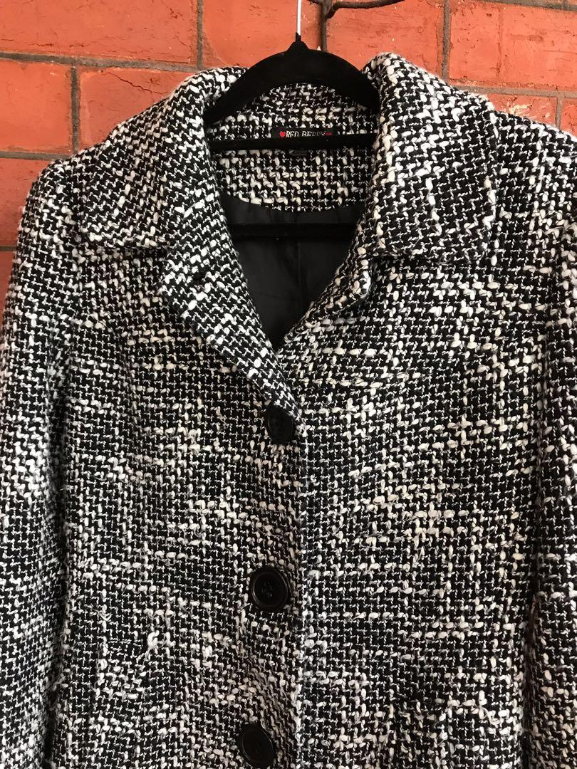 Winter black check trench coat Parka jacket size M