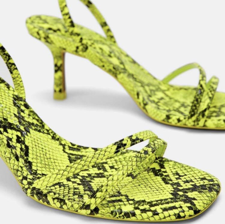 Zara Neon Green Snake Skin Heels Size 7