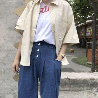 KOREA - 簡約口袋襯衫(白色款)