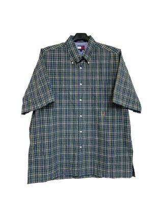 古著tommy格紋小logo短袖襯衫