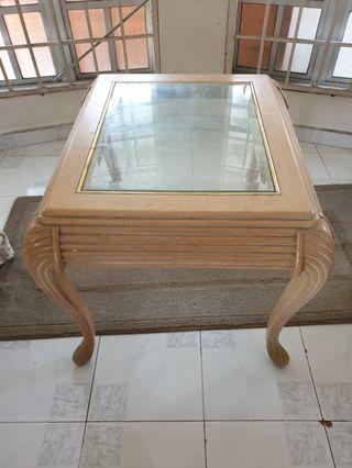 COFFEE TABLE (WOOD MATERIAL WITH GLASS)