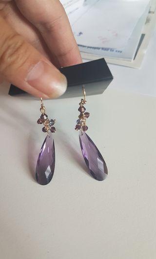 BNIP purple drop earrings