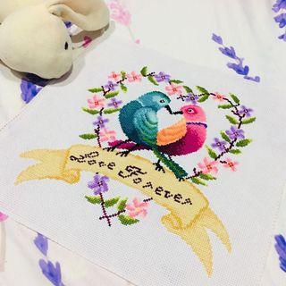 11ct cross stitch kit (love forever love birds)