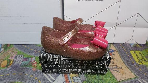 Preloved Mini Melissa Ultragirl Glitter Sepatu sendal anak Perempuan