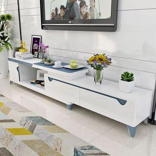 Modern white and blue TV table and coffee table.