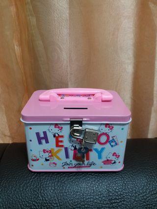 三麗鷗授權kitty手提存錢筒 附鎖存錢筒kitty鐵盒飾品小物收納 桌上收納美觀實用