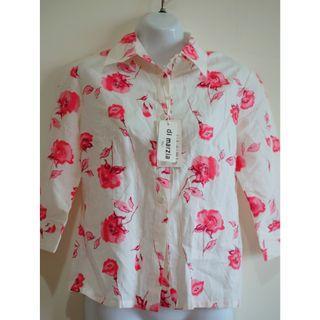 全新白底紅花珠珠襯衫上衣