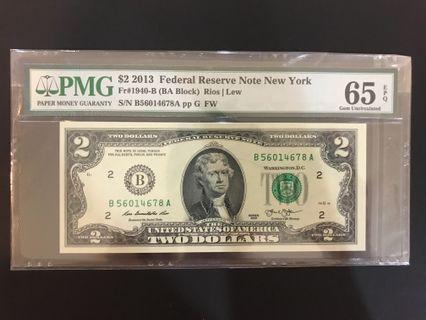 65 PMG $2 US DOLLAR