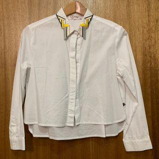 White Shirt with Embroidered Collar
