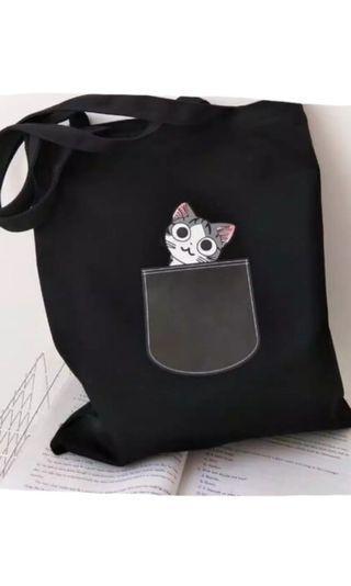 Tote bag kitten black