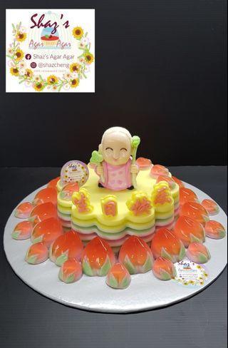 Longevity Ah Ma with Peaches Agar Agar Birthday Cake