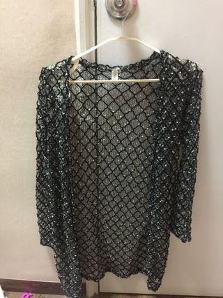 Semi- Transparent Long Sleeve Cardigan