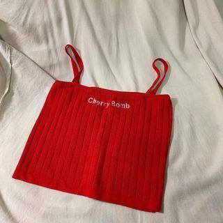 紅色針織背心