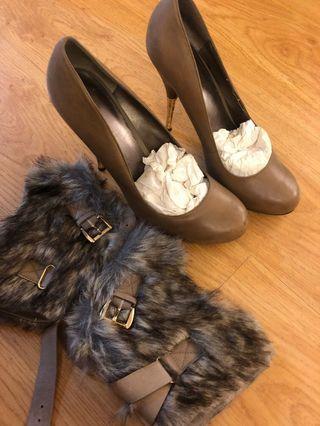 Nine West heels with detachable fur