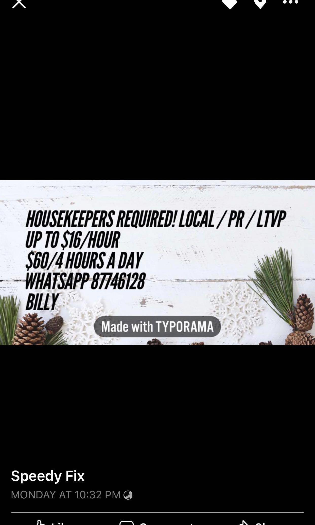 4 hours a day / Female House cleaners required!