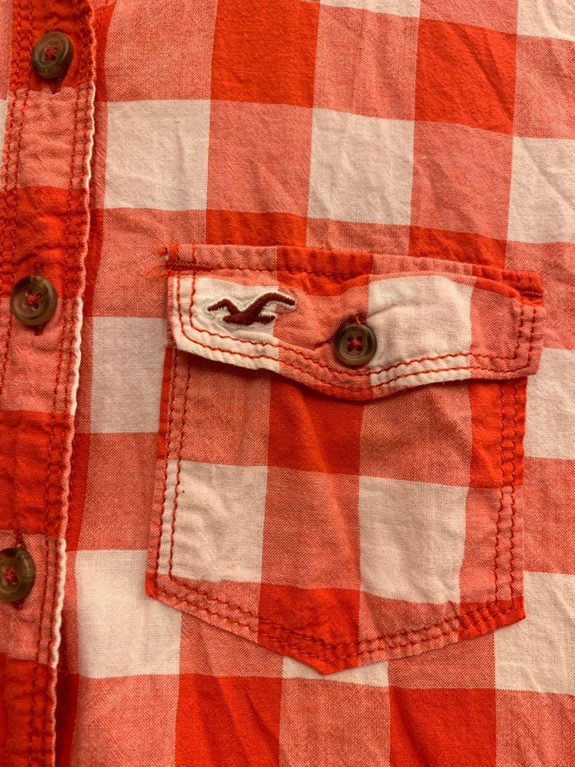 美國 Hollister 格子襯衫 紅白 #五折出清女裝