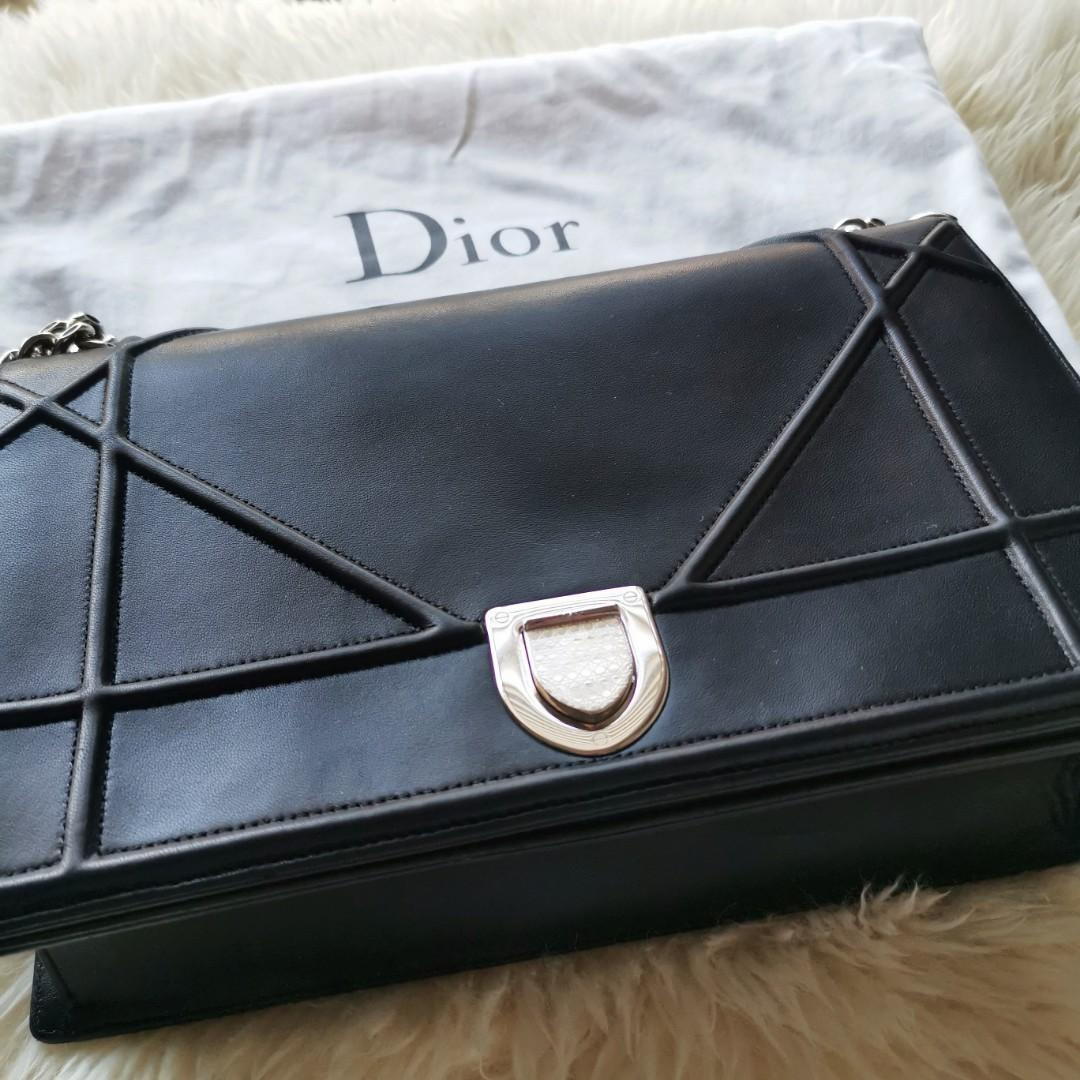 Authentic Christian Dior Diorama bag Large in black lambskin