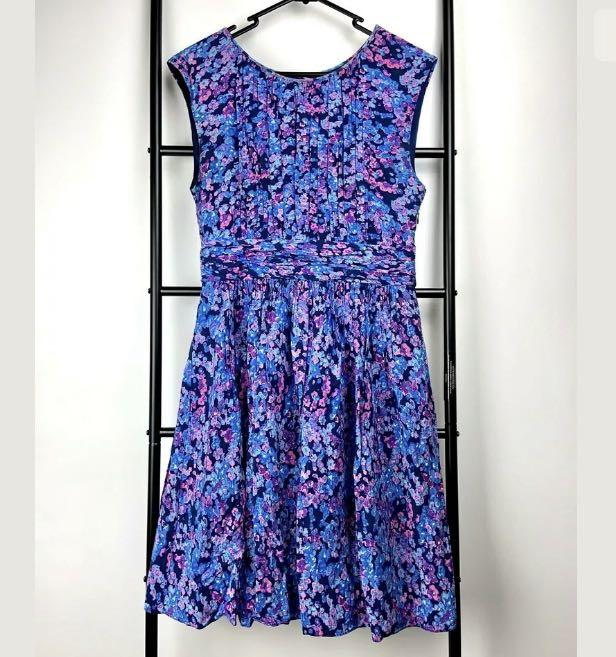Boden sz 10R purple pink floral Selina Dress casual summer party feminim