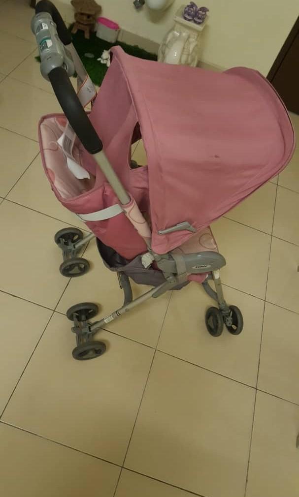 Combi Japan Foldable Baby Stroller Pink Preloved