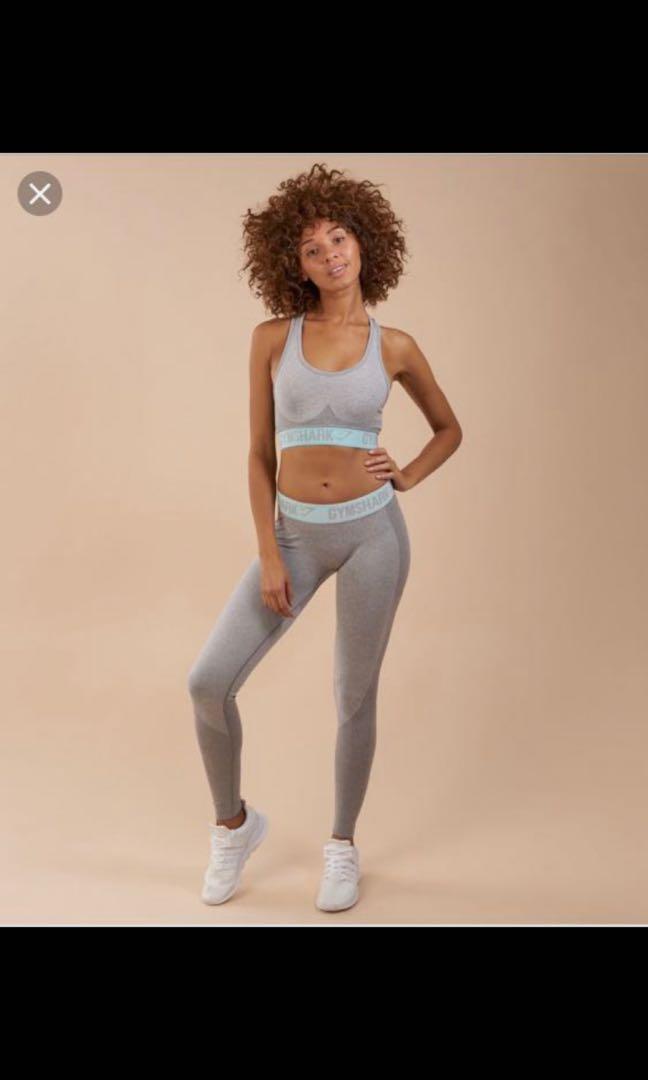 gymshark flex leggings - light grey marl/pale turquoise