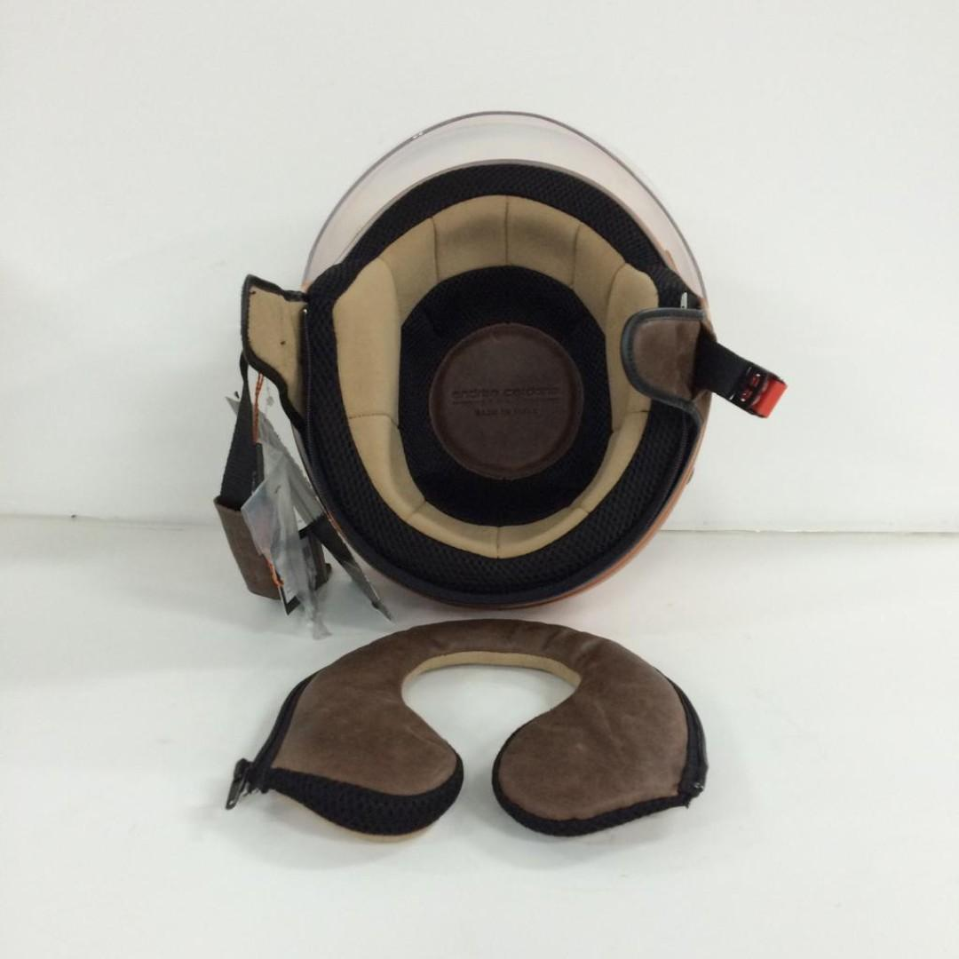 MOTOR-CYCLE FIBRE HELMET W/CLOTH BAG.  MADE IN TALY.
