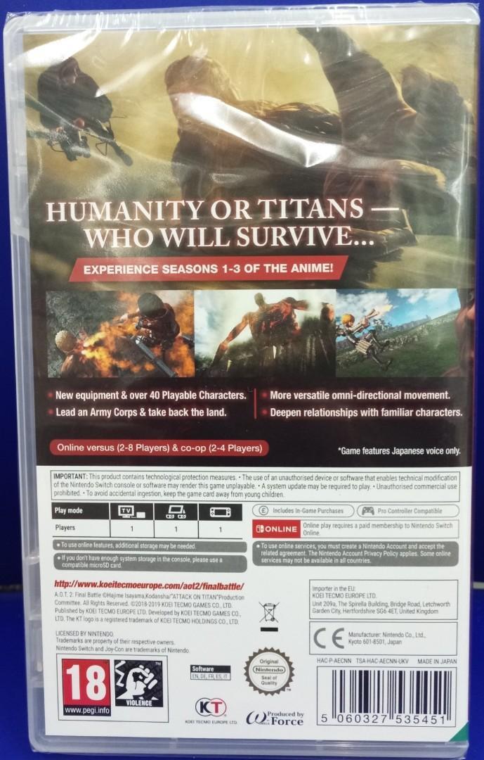 Nintendo Switch Game - Attack On Titan 2 Final Battle
