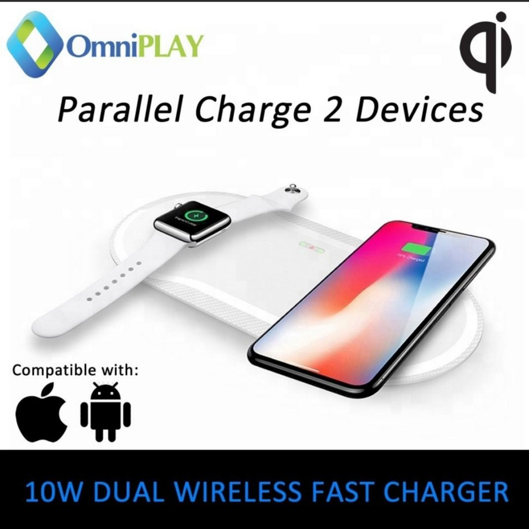 20W DUAL Qi Wireless Fast Charger Parallel Charging 2 Device