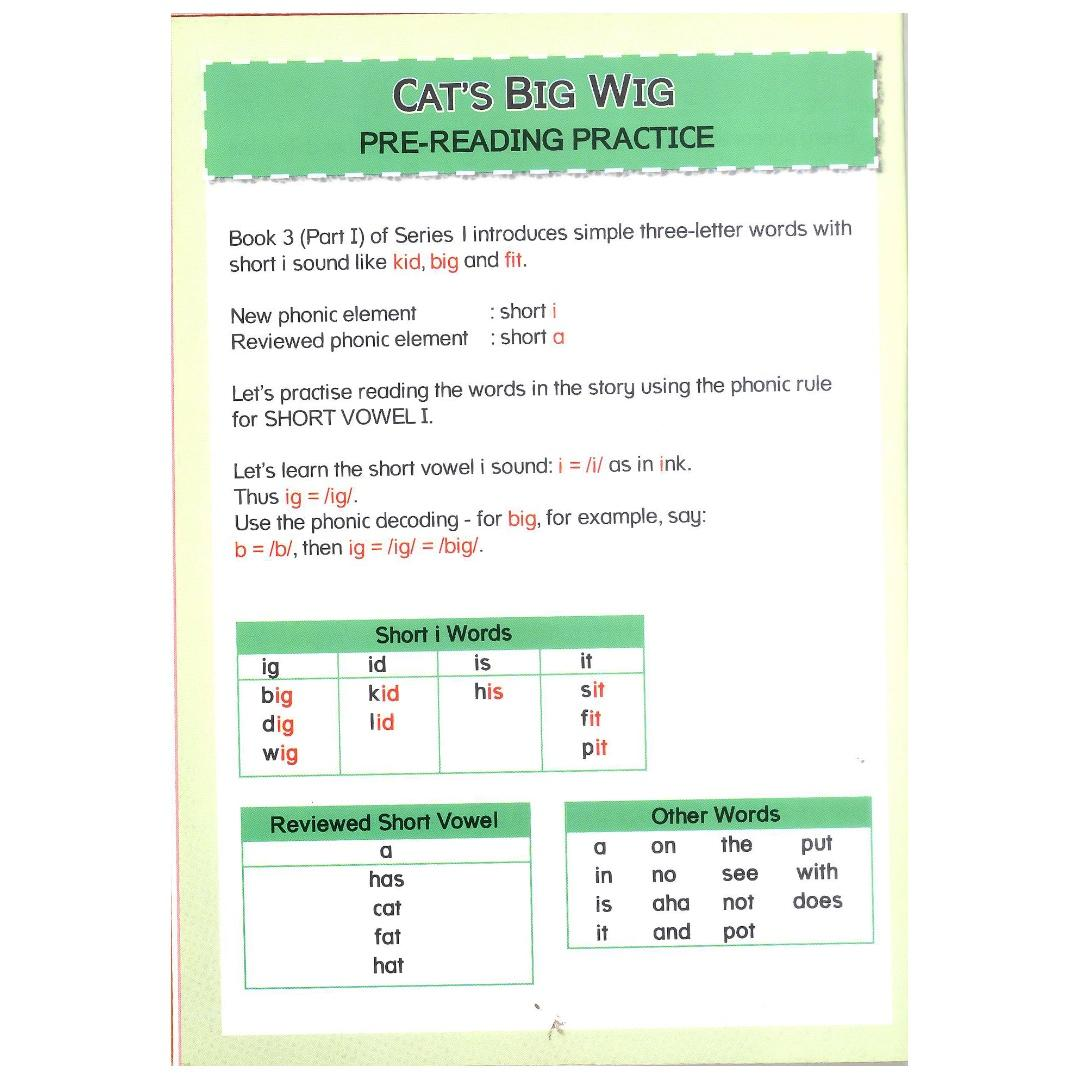 Phonic in Reading Series 1: Book 3 - Cat's Big Wig & the Tin Bin | Children's Book | Early Readers