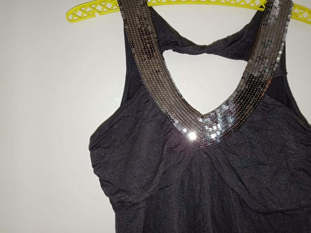 Silver and Sequin V Neck top with Keyhole Back - Size S